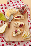 Roasted bread with camembert Stock Images