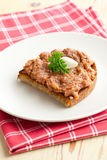 Roasted bread with steak tartare Stock Images
