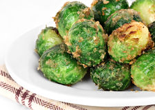 Roasted Brussel Sprouts Side Macro View Stock Images