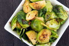 Roasted brussels sprouts with bacon Stock Images