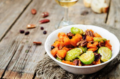 Roasted brussels sprouts honey pumpkin pecan salad. Toning. selective Focus Royalty Free Stock Image
