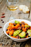Roasted brussels sprouts honey pumpkin pecan salad Royalty Free Stock Photo