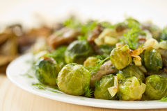 Roasted brussels sprouts and mushrooms Royalty Free Stock Photos