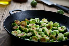 Roasted brussels sprouts on pan stock photo