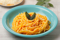 Roasted butternut pumpkin spaghetti Stock Images