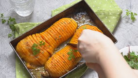 Roasted butternut squash stock video