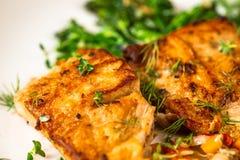 Roasted carp fish with broccoli stock photography