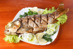 Roasted carp fish with vegetables entirely. Traditional Christmas meal. Closeup stock photography