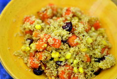 Roasted carrot, corn, cranberry couscous. Couscous salad with roasted carrots, dried cranberries and corn royalty free stock photos