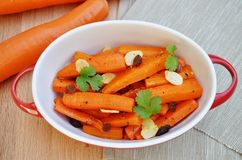 Roasted Carrots with Almonds and Sultanas Royalty Free Stock Photos