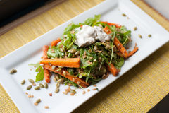 Roasted Carrots with arugula pepitas and farro. Healthy summer salad of sour cream carrots on a white plate Royalty Free Stock Photos