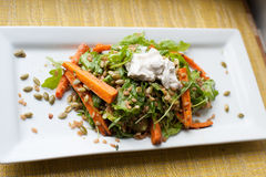 Roasted Carrots with arugula pepitas and farro. Healthy summer salad of sour cream carrots on a white plate royalty free stock image