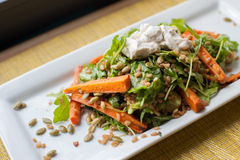 Roasted Carrots with arugula pepitas and farro. Healthy summer salad of sour cream carrots on a white plate royalty free stock images