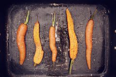 Roasted carrots. In an old pan Royalty Free Stock Image