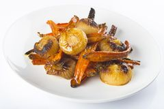 Roasted carrots and onions Stock Photography
