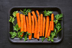 Roasted carrots, top view Stock Images