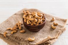 Roasted cashew nuts. In bowl royalty free stock images