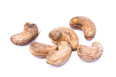 Roasted cashew nuts. Isolated on white background stock photos