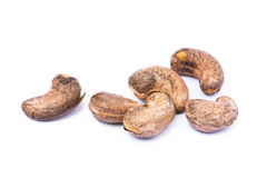 Roasted cashew nuts. Isolated on white background royalty free stock images