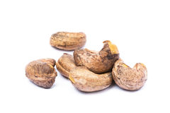 Roasted cashew nuts. Isolated on white background royalty free stock photos
