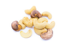 Roasted cashew nuts. Isolated on white background royalty free stock photo