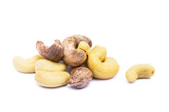 Roasted cashew nuts. Isolated on white background royalty free stock image