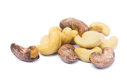 Roasted cashew nuts. Isolated on white background stock photography