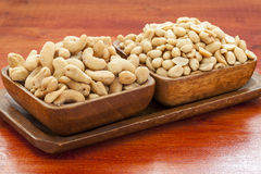 Roasted cashew nuts and peanuts. Stock Photo