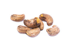 Roasted cashew nuts. On white background royalty free stock photography