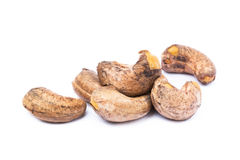Roasted cashew nuts. On white background royalty free stock photo