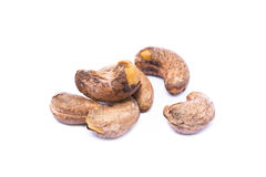 Roasted cashew nuts. On white background royalty free stock image