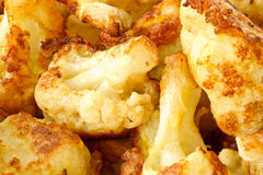 Roasted Cauliflower. Fried cauliflower in batter on a plate closeup royalty free stock photos