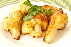 Roasted Cauliflower. Fried cauliflower in batter on a plate closeup stock photography