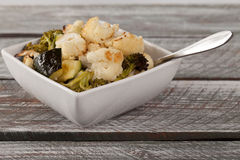 Roasted Cauliflower, Broccoli, and Zuccini side shot Royalty Free Stock Images