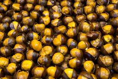 Roasted chestnut at street stall Stock Image