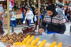 Roasted chestnut vendor Stock Photography