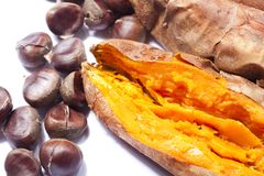 Roasted Chestnuts And Sweet Potatoes Stock Photography