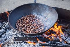 Roasted chestnuts and maroni over low heat italian mountains. Italy europa stock photos