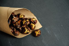 Roasted chestnuts in paper bag Royalty Free Stock Image