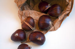 Roasted chestnuts ready to eat on crafted paper. Royalty Free Stock Photography