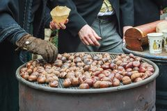 Roasted chestnuts for sale at the Dickens festival in Deventer,. Netherlands Stock Photos