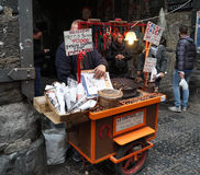 Roasted chestnuts seller Napoli Royalty Free Stock Images