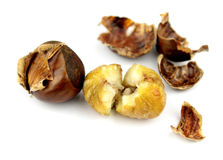 Roasted chestnuts with shells on white background Royalty Free Stock Photography