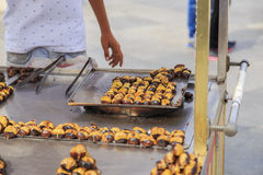 Roasted chestnuts in street cart, Istanbul. Stock Image