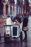Roasted chestnuts street seller in the city of Seville, Spain Royalty Free Stock Photos