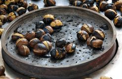 Roasted chestnuts in the streets of Istanbul Royalty Free Stock Images