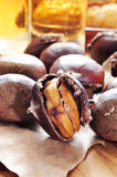 Roasted chestnuts, typical snack in All Saints Day in Catalonia, Stock Image