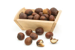 Roasted chestnuts in wooden bowl Royalty Free Stock Image