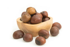 Roasted chestnuts in wooden bowl Royalty Free Stock Photos