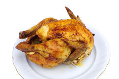 Roasted chicken. On plate, isolated on white Stock Image